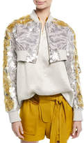 Valentino Cropped Zip-Front Sequin Paillette Jacket
