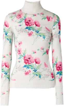 Les Rêveries Distressed Floral-print Cashmere Turtleneck Sweater