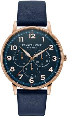 Kenneth Cole New York Dress Sport Rose Goldtone Stainless Steel Leather-Strap Watch