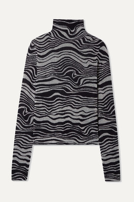 Sies Marjan Roos Cashmere-blend Jacquard And Lurex Turtleneck Sweater - Black