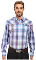 Stetson Smokey Blue Ombre Long Sleeve Woven Snap Shirt