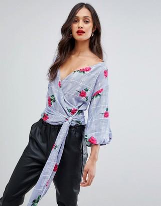 AX Paris tie front 3/4 sleeve top in rose print