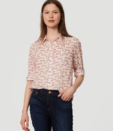 LOFT Leopard Shirred Softened Shirt