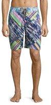 Robert Graham Universe Mixed-Print Long Swim Trunks, Multicolor