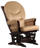 Dutailier Espresso Wood Glider with Light Brown Upholstery