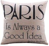 CoolDream Cotton Linen Decorative Pillowcase Throw Pillow Cushion Cover Paris is Always a Good Idea Square Standard