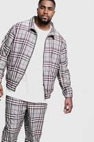 BoohooMAN Big & Tall Check Smart Coach Jacket