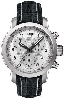 Tissot Women's PRC200 Quartz Embossed Leather Strap Watch, 35mm