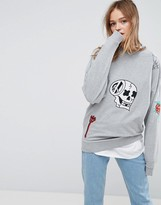 Asos X LOT STOCK & BARREL UNISEX Sweat with Embroidery in Gray Marl