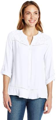 Notations Women's SLD Ls Roll Up to 3/4 SLV Button Down Blouse Lace Front Yoke