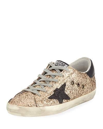 Golden Goose Superstar Glitter Fabric Low-Top Sneakers