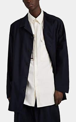 Yohji Yamamoto Men's Washed Cotton Twill Shirt Jacket - Navy