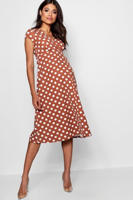 boohoo Maternity Polka Dot Wrap Dress