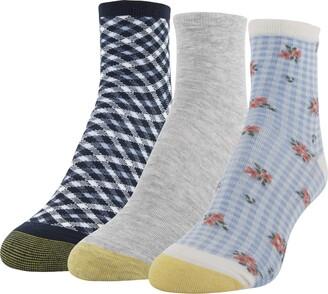 Gold Toe Women's Gingham Short Crew Socks 3 Pairs