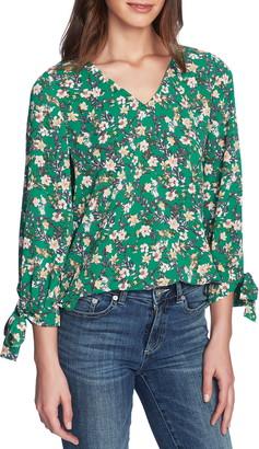 CeCe Botanic Charm Floral Tie Sleeve Blouse