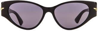 Bottega Veneta Original 02 Cat Eye Sunglasses in Shiny Black & Grey   FWRD