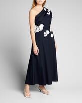 Thumbnail for your product : Lela Rose Floral-Applique One-Shoulder Midi Dress