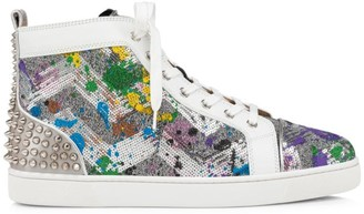 Christian Louboutin Lou Spikes III Rainbow Sequin High-Top Sneakers