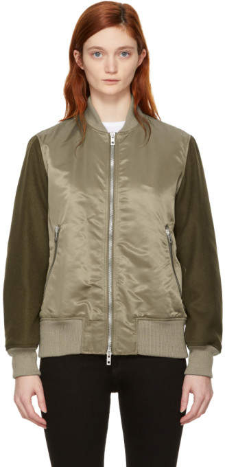 Rag & Bone Green Elle Bomber Jacket