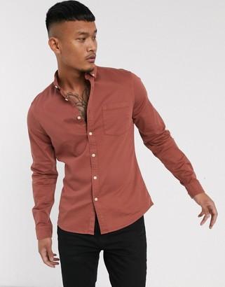 Asos DESIGN stretch slim fit organic denim shirt in brown