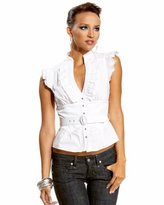 Western Belted Ruffle Top