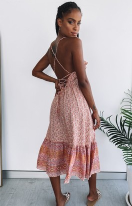 Beginning Boutique Cordelia Lace Back Midi Dress Pink Floral