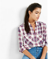 Express red plaid oversized convertible sleeve shirt
