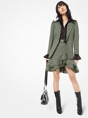 Michael Kors Plaid Stretch-Wool Ruffle Mini Skirt