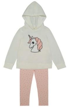 Btween Brushed Fleece Hoodie w/unicorn fur/legging set