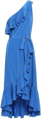Joie Damica One-shoulder Washed-silk Midi Wrap Dress
