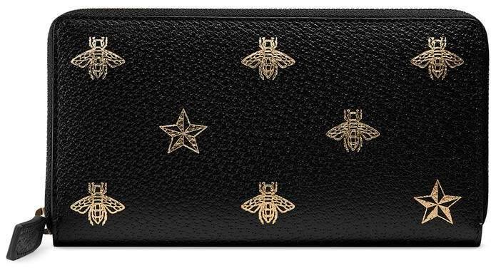 Gucci Bee Star leather zip around wallet