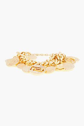 Versace Gold double-chain Charm Bracelet