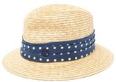Maison Michel Bobbie Polka-dot Band Straw Hat - Womens - Beige Navy