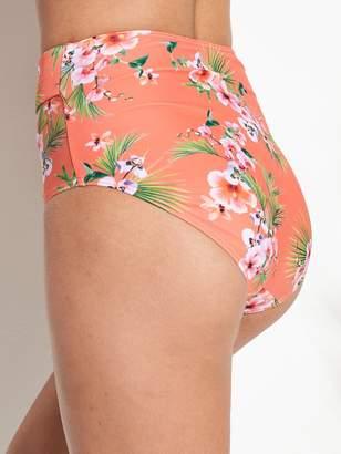 Very High Waist Belted Bikini Brief - Orange Floral