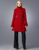 Petite Stand-Collar Double-Breasted Walker Coat