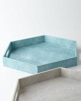 Regina-Andrew Design Turquoise Faux-Shagreen Hexagonal Tray