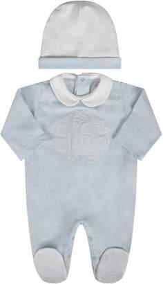 Roberto Cavalli Light Blue And White Babyboy Set With Iconic Logo