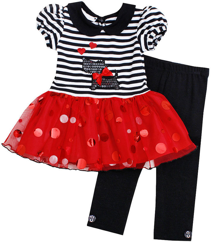 Bonnie Baby Set, Baby Girls 2-Piece Scottie Dog Tulle Dress and Leggings