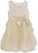 Rare Editions Ivory & Gold Lace Cascade Dress, Toddler & Little Girls (2T-6X)