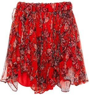 IRO Spin Ruffled Floral-print Crinkled-georgette Shorts