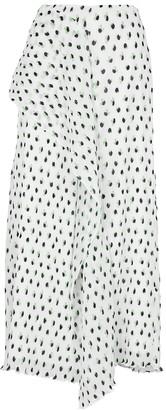 Roland Mouret Falun white polka-dot plisse midi skirt