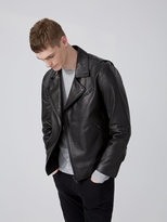 Frank + Oak Leather Biker Jacket in Black