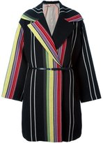 No.21 striped coat - women - Linen/Flax/Polyamide/Acetate/Wool - 40