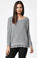 La Hearts Crochet Trim Pullover Sweater