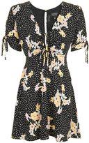 Topshop Spot Floral Tie Tea Dress
