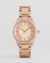Armani Exchange Rose Gold Glitz Nicolette Watch