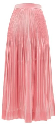 Rhode Resort Farrah Pleated Lame Midi Skirt - Womens - Pink