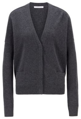 HUGO BOSS Relaxed Fit Cardigan In Virgin Wool And Cashmere - Grey