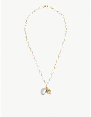 Alighieri Solitary Tear 24ct yellow gold-plated bronze and freshwater pearl pendant necklace