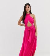 Asos DESIGN Petite cross neck split front maxi dress in pink